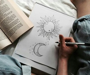 art, drawing, and sun image