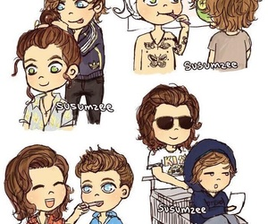 larry, louis tomlinson, and Harry Styles image