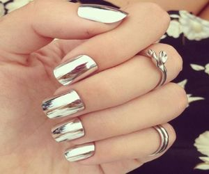 nails, silver, and rings image