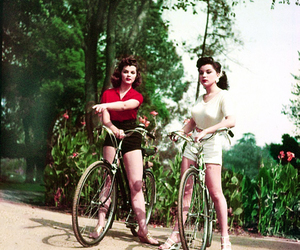 vintage, girl, and bike image