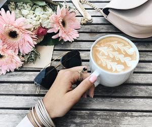 coffee, flowers, and nails image