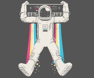 astronauts, illustration, and keyboards image