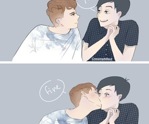 couple, gay, and kiss image