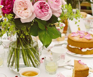 cake, flowers, and tea party image