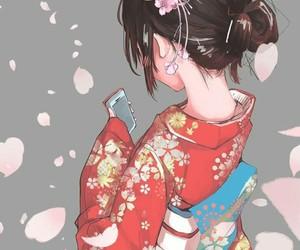 anime, girl, and kimono image