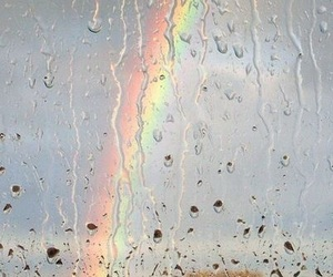 rainbow, rain, and nature image