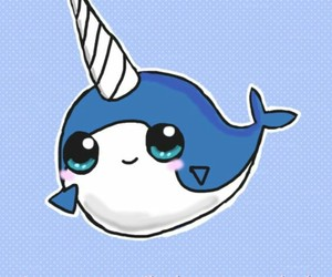 narwhal, whale, and unicorn image