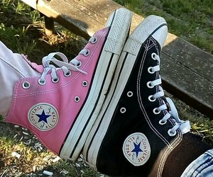 black, converse, and pink image