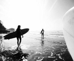 summer, surf, and black and white image