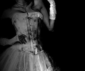 dark, dress, and black and white image