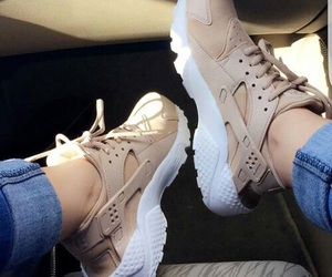 shoes, nike, and beige image