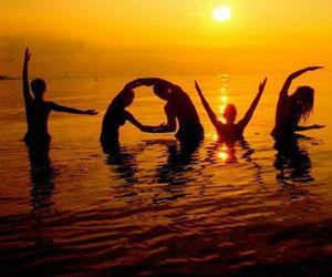 love, beach, and sunset image