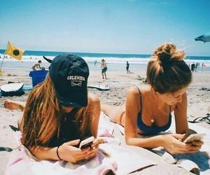 girls, beach, and friendship image