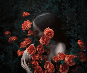 art, flowers, and roses image