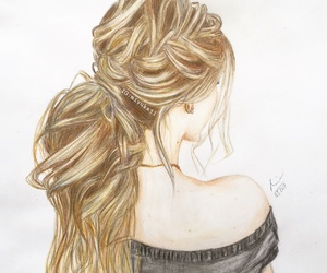 blonde, braid, and drawing image