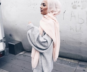 hijab, fashion, and grey image