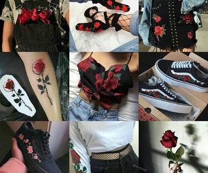 black, flowers, and red image