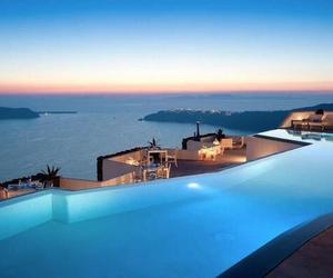 pool, Greece, and sea image