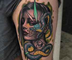 ink, inked, and snake image