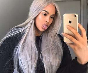 colored hair, long hair, and mirror selfie image