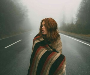 girl, fog, and forest image