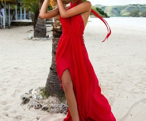 beach, red dress, and fashion image