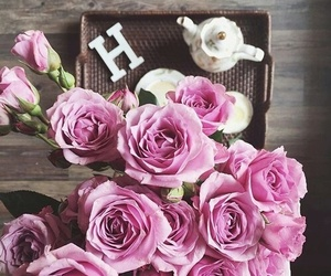 flowers, h, and letters image