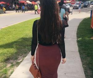 girl, purse, and sidewalk image