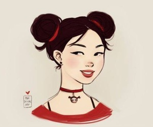 asian girl, pucca, and red image