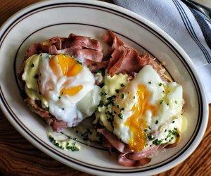 breakfast, ham, and hollandaise image