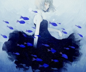 blue, fish, and girl image