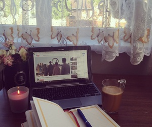 candle, coffee, and comfortable image