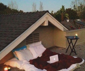 bed, roof, and night image