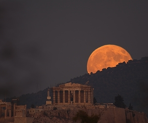 moon, Greece, and travel image