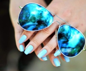 blue, nails, and sunglasses image