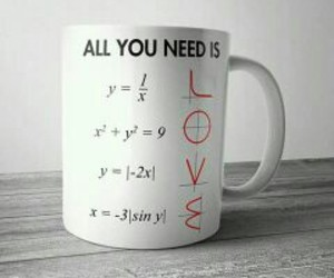 love, math, and cup image