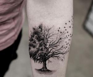 tree, tattoo, and bird image
