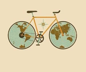 world, travel, and bike image