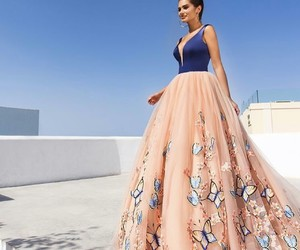 dress, butterfly, and blue image