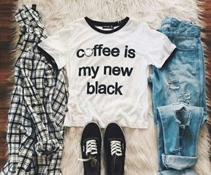 dream closet, simple outfit, and coffea image