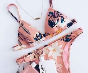 bikini, girlss, and flower image