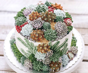 cake, cactus, and plants image