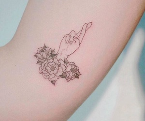 Tattoos, black, and flowers image