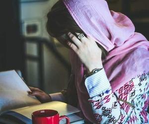 girl, book, and hijab image