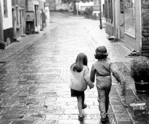 holding hands, young love, and black and white image