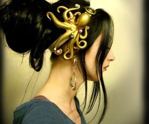 hair, octopus, and steampunk image