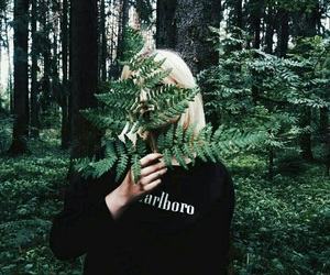 girl, forest, and green image