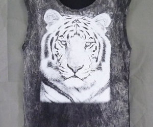 black, bengal tiger, and tiger tank top image
