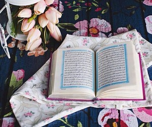 flowers, quran, and arabic image