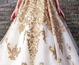 dress, white&gold, and heart image